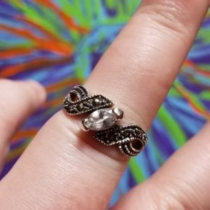 Jewelry - Elegant Twisted Marcasite Sterling Silver CZ Ring